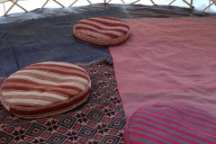 round bean bags on persian rugs